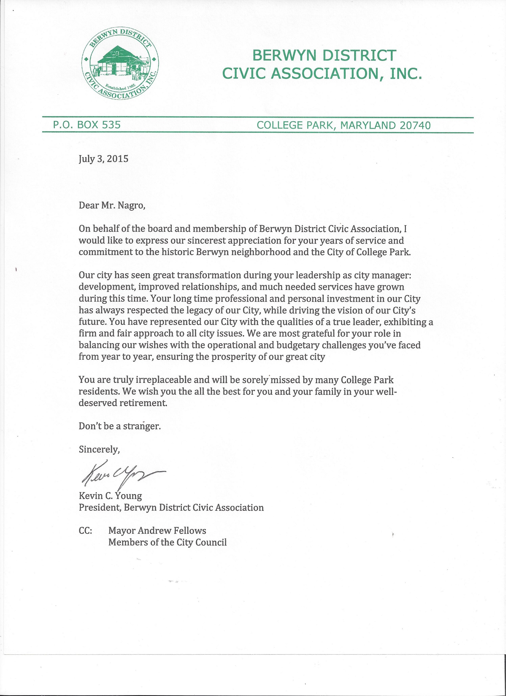 Advocacy Letters – Community Service Letter
